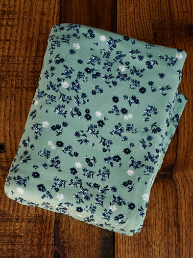 Navy Nora Floral on Sage Double Brushed Poly Spandex