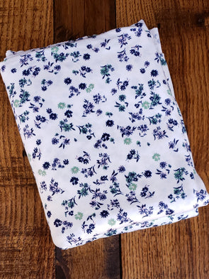 Navy Nora Floral on Ivory Double Brushed Poly Spandex