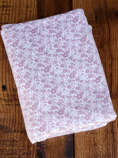 Mauve Mia Floral on Ivory Double Brushed Poly Spandex
