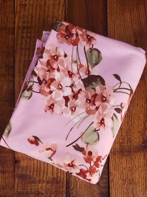 Peach & Rust Floral on Rose Pink Double Brushed Poly