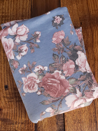 Blush Floral on Blue French Terry Poly Rayon Spandex