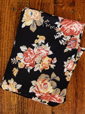 Rust & Yellow Roses on Black Poly Spandex