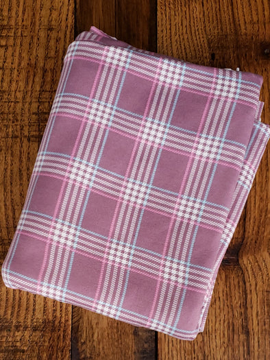 Mauve Plaid Double Brushed Poly Spandex