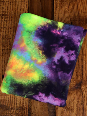 Neon Lime/Purple/Pink Tie Dye Double Brushed Poly Spandex