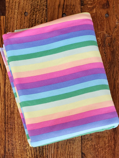 Spring Rainbow Stripes Double Brushed Poly Spandex