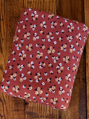 Camel & Ivory Small Flowers on Rust Rib 4*2  Poly  Spandex(LAST YARDS - NOT CONTINUOUS)