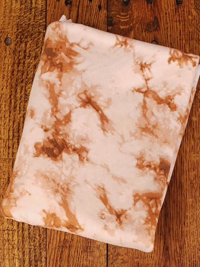 Rust & Dusty Peach Tie Dye Double Brushed Poly Spandex