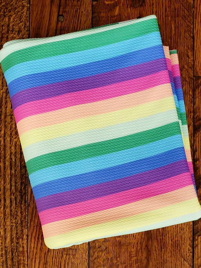 Spring Rainbow Stripes Bullet Liverpool Poly Spandex