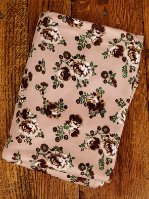 Brown Flowers on Maple Sugar Double Brushed Poly Spandex