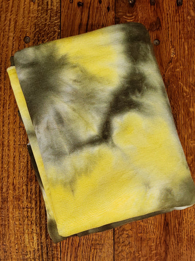 Olive & Yellow Tie Dye Baby French Terry Poly Rayon Spandex