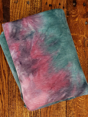 Mauvewood & Hunter Green Tie Dye French Terry Poly Rayon Spandex