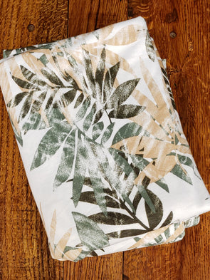 Green/ Camel Leaves on Ivory French Terry Poly Rayon Spandex