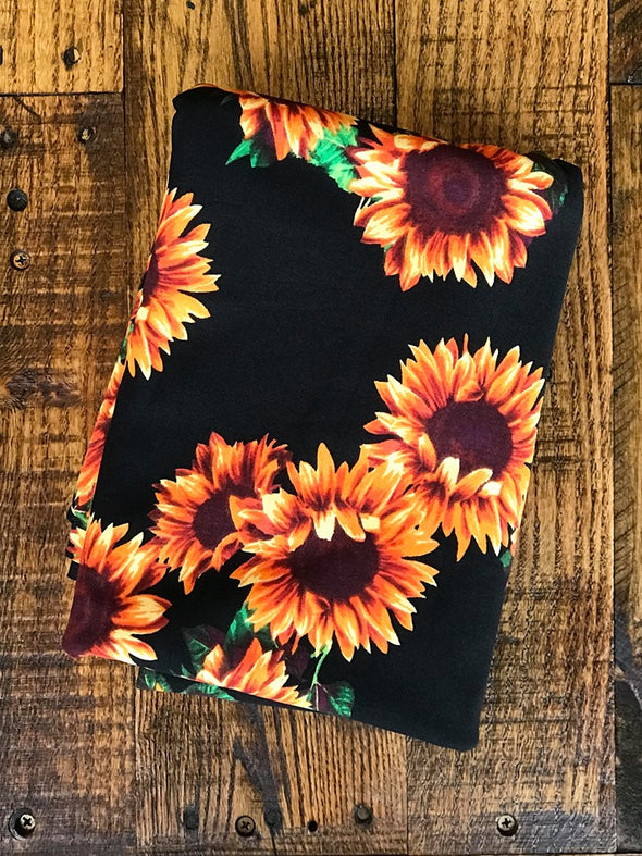 Sunflower on Black Scuba Crepe Poly Spandex