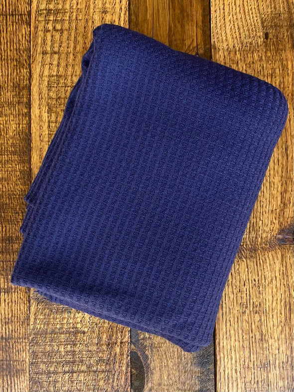 Navy Waffle Poly Rayon Spandex(LAST YARDS- NOT CONTINUOUS)