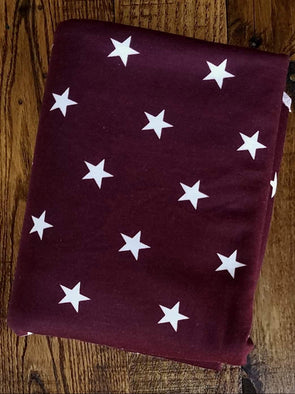 Ivory Stars on Burgundy French Terry Poly Rayon Spandex