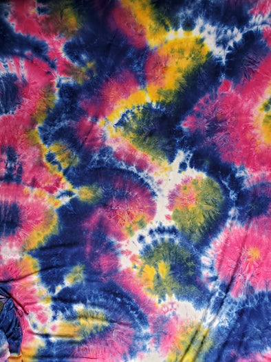 NEW Navy, Hot Pink, Yellow Tie Dye Double Brushed Poly Spandex