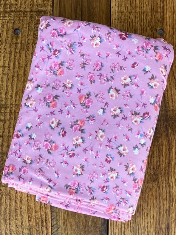 Mini Roses on Mauve Double Brushed Poly Spandex (LAST YARDS - MAY NOT BE CONTINUOUS)