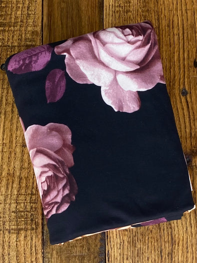Big Roses on Black Double Brushed Poly Spandex