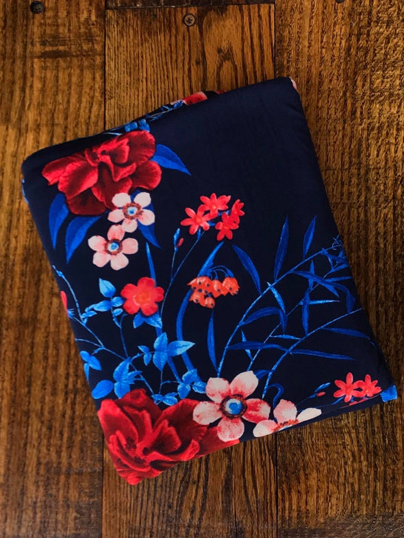 Red & Blue Floral on Black Double Brushed Poly Spandex