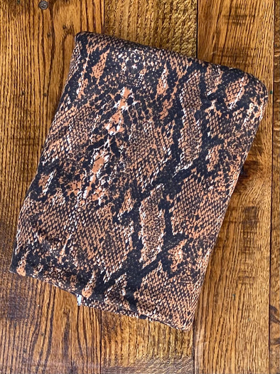 Brown Snake Animal Print Double Brushed Poly Spandex(LAST YARDS- NOT CONTINUOUS)
