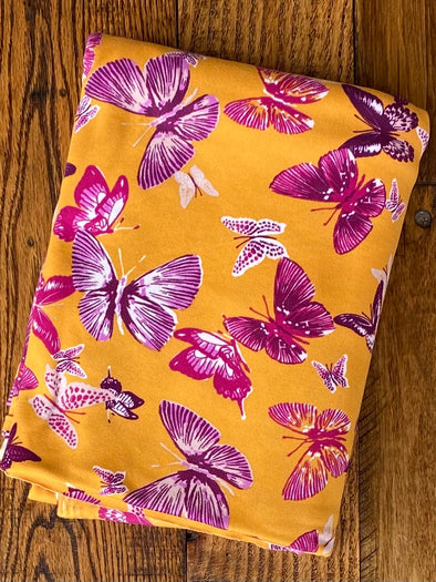 Purple/Magenta Butterfly on Mustard Double Brushed Poly Spandex (SEE NOTE)