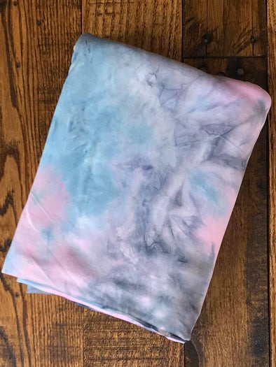 Light Blue/ Silver/ Pink Tie Dye Double Brushed Poly Spandex (LAST YARDS- NOT CONTINUOUS)(LAST YARDS- NOT CONTINUOUS)