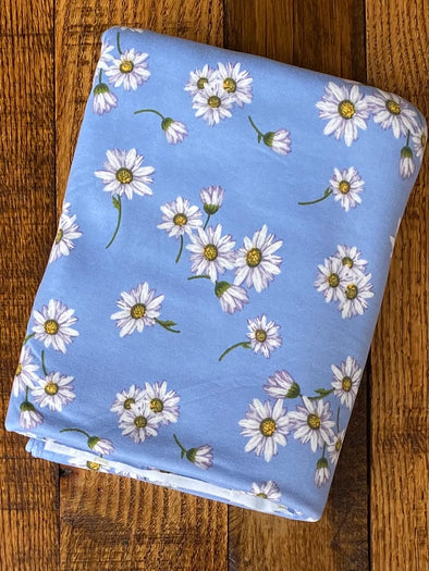 Daisies on Blue Double Brushed Poly Spandex
