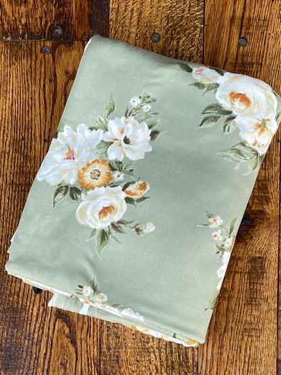 Floral Taupe on Sage Floral Print  on Double Brushed Poly Spandex