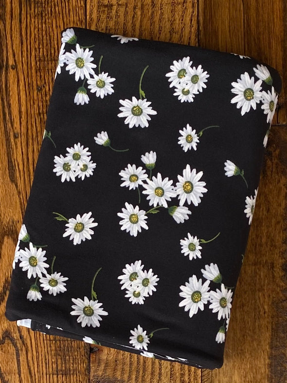 Daisies on Black Double Brushed Poly Spandex(LAST YARDS - NOT CONTINUOUS)