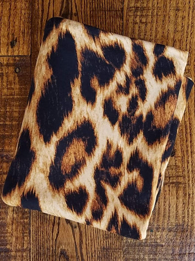 New Gold Leopard Animal Print on Double Brushed Poly Spandex
