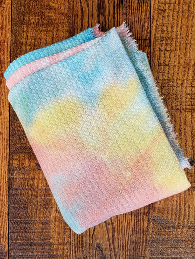 NEW Peaches & Buttercream Tie Dye Brushed Waffle Poly Spandex