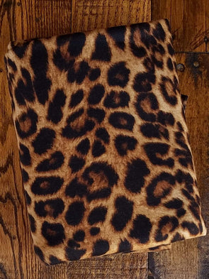 Amber Leopard Animal Print on FRENCH TERRY Poly Rayon Spandex ( LAST YARDS )