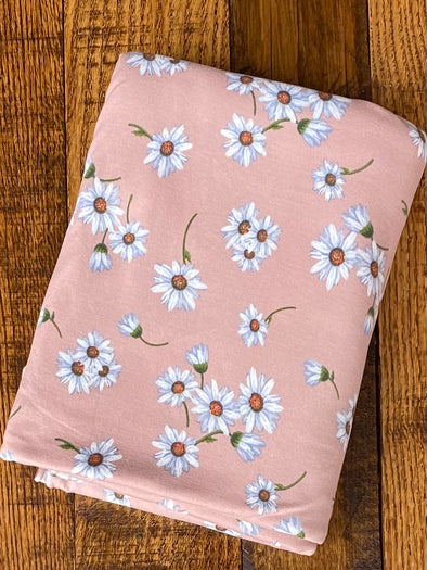 Daisies on Dusty Mauve Double Brushed Poly Spandex(LAST YARDS - NOT CONTINUOUS)