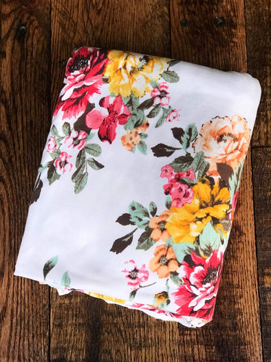 Marie Floral Bouquet on Ivory Double Brushed Poly Spandex
