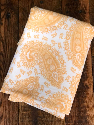 Mustard Paisley on Ivory French Terry Poly Rayon Spandex