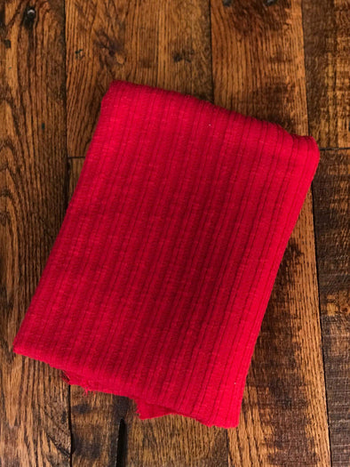 Red Rib Sweater Knit Cotton Poly Spandex