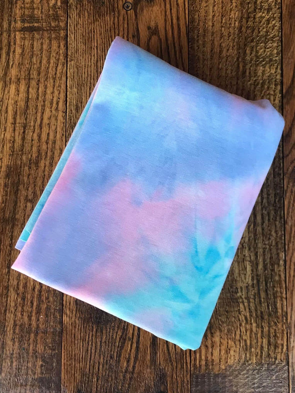 Pink/Blue & Aqua Tie Dye Brushed French Terry Poly Rayon Spandex(LAST YARDS- NOT CONTINUOUS)