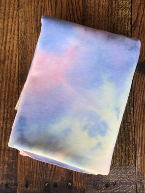 Yellow, Blue & Pink Tie Dye Brushed French Terry Poly Rayon Spandex (LAST YARDS - MAY NOT BE CONTINUOUS)