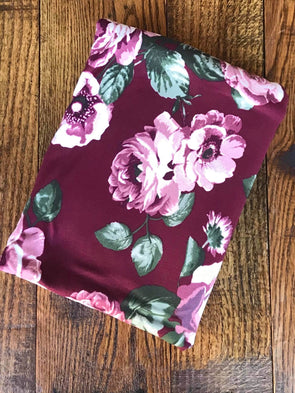 Shawna Floral Wine Double Brushed Poly Spandex