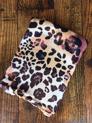 Multicolor Taupe Leopard Print Double Brushed Poly Spandex (LAST YARDS - NOT CONTINUOUS)