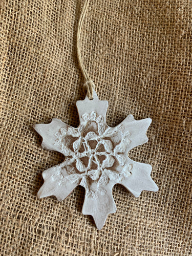 Simple White Snowflake Ornament