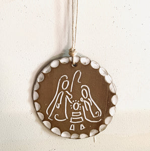 Round Nativity Ornament
