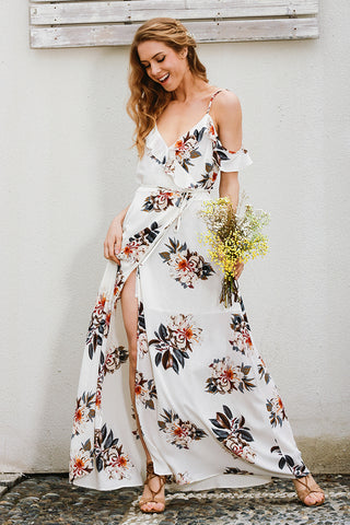Image of Chiffon Floral Print Maxi Dress - Milestonebuy
