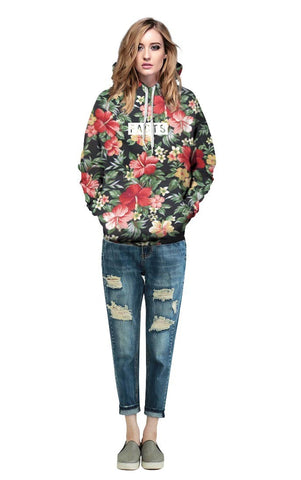Red Flowers Green Leaves Sweatshirts - Milestonebuy