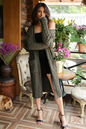 Knitting Long Cardigan Winter Sweater