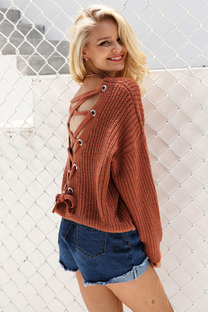 Back Lace Up Knitted Pullover