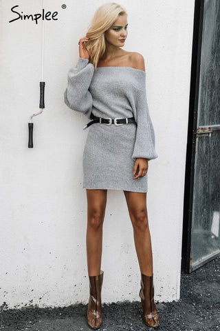 Off Shoulder Short Knitted Sweater Dress - Milestonebuy