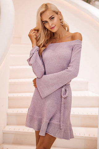 Off Shoulder Knitting Sweater Dress - Milestonebuy