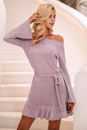 Off Shoulder Knitting Sweater Dress