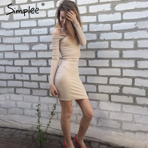 Autumn One Shoulder Bodycon Dress - Milestonebuy